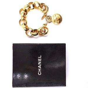 Chanel Jewelry - Gold Médallion Cc Hammered Chain Cuff Bracelet